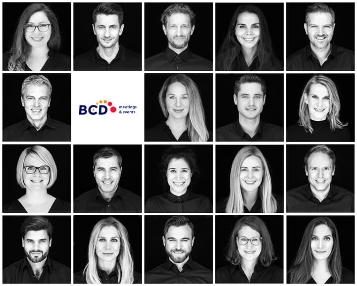Corporate photography: collage of black & white employee photos of the company BCD