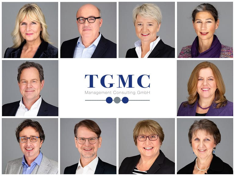 Corporate photography: collage of employee photos of the company TGMC